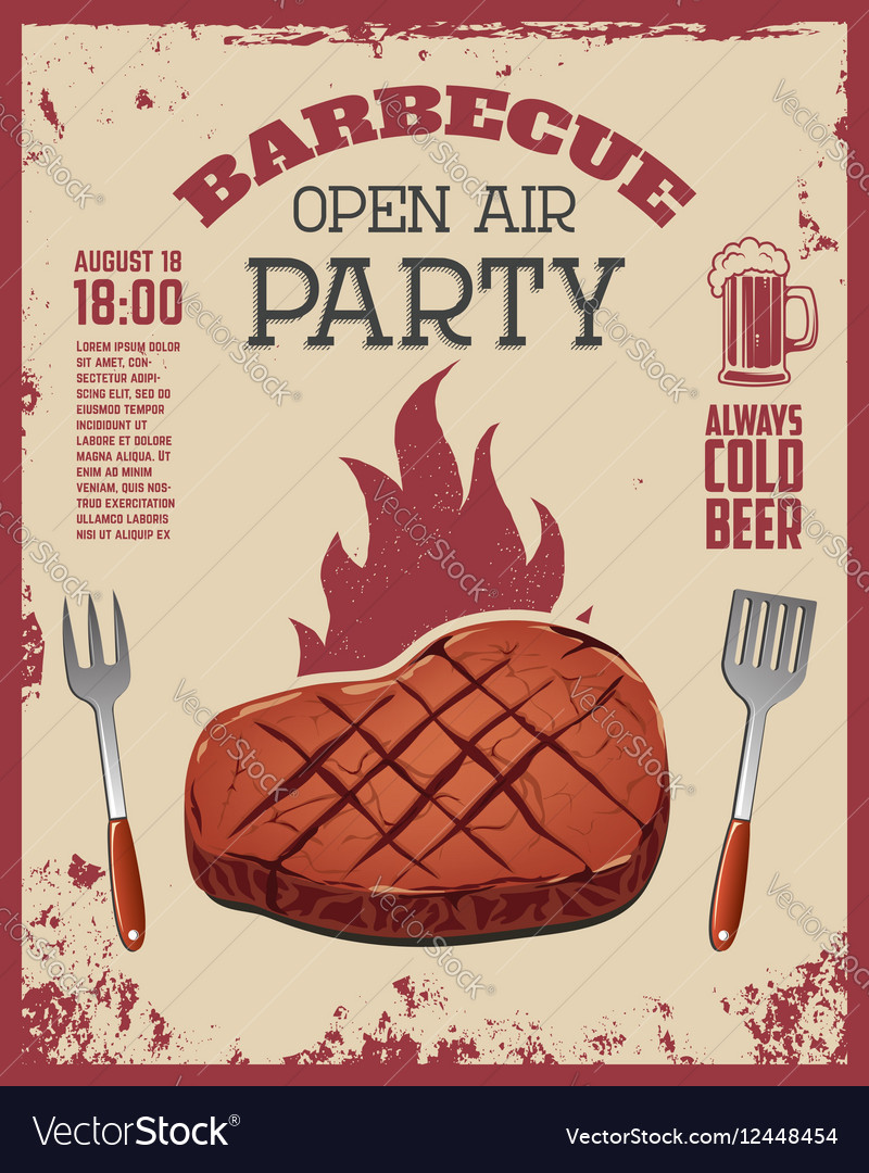 Barbecue open air party flyer Beef steak and vector image