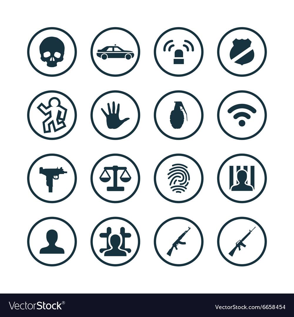 Crime justice icons universal set vector image