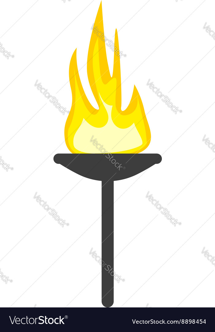 Torch flame isolated on white vector image