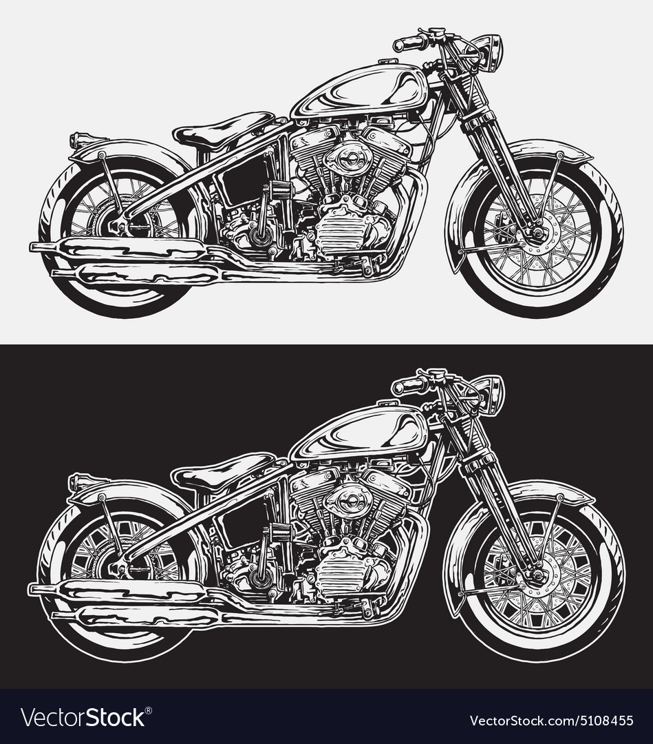 Hand Inked Motorcycle vector image