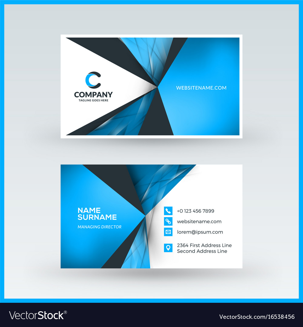Double sided horizontal business card template vector image wajeb Images