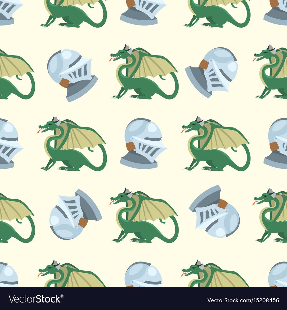 Fantasy knight dragon flying seamless pattern vector image