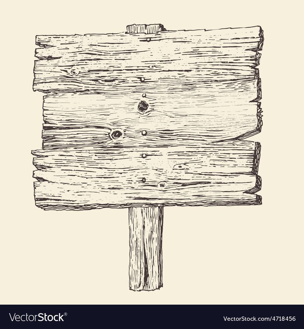 Wood signboard wooden sign vintage vector image