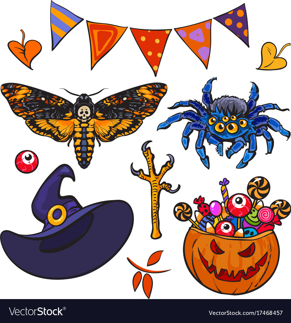 Cartoon halloween set vector image
