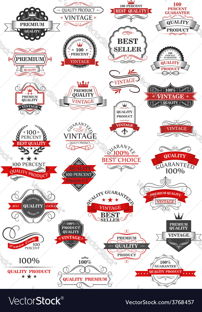 Retro set of bestseller guarantee and quality vector image