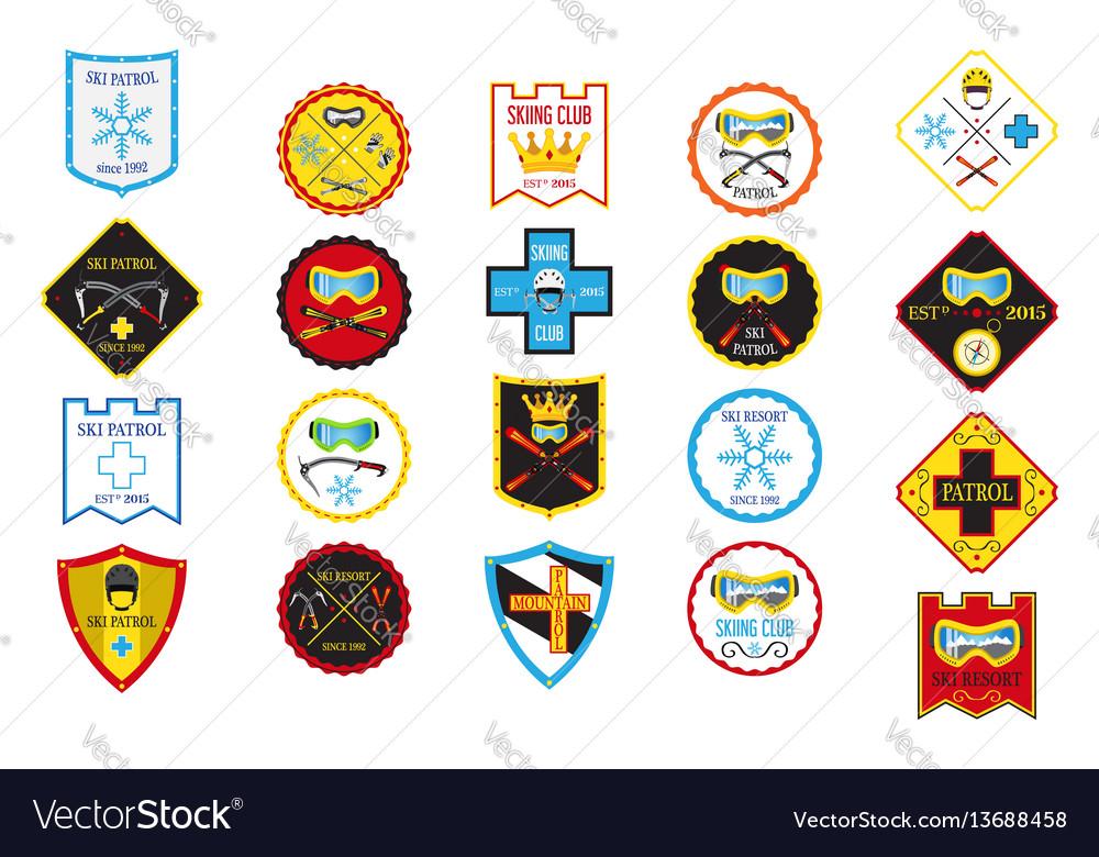Colorful set of ski logos ski patrol rental skiing vector image