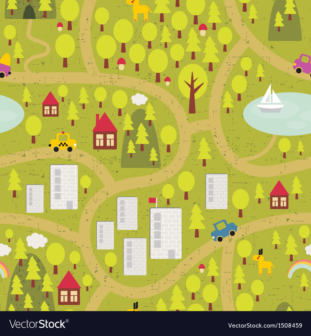 Cartoon map of small town and countryside vector image