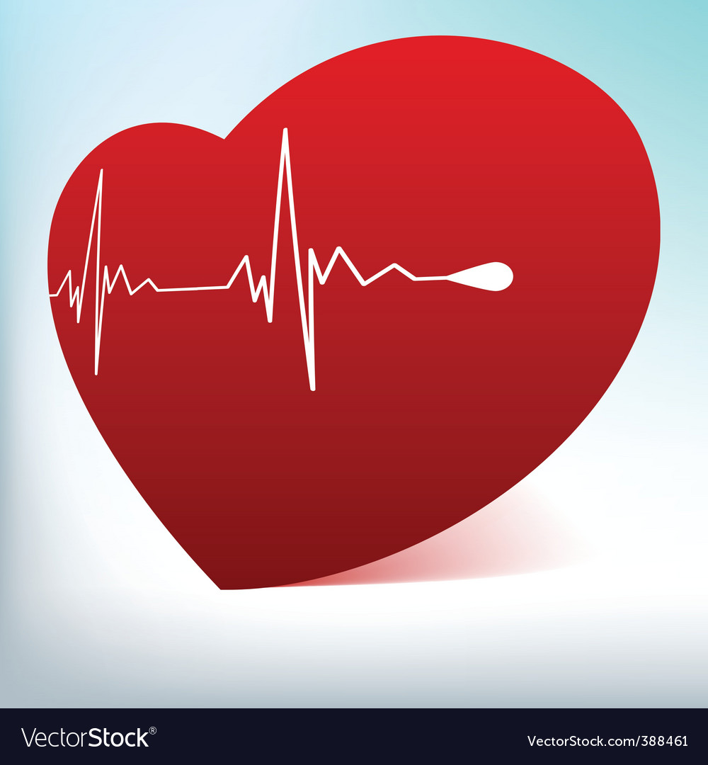 Glass heart with cardiogram vector image