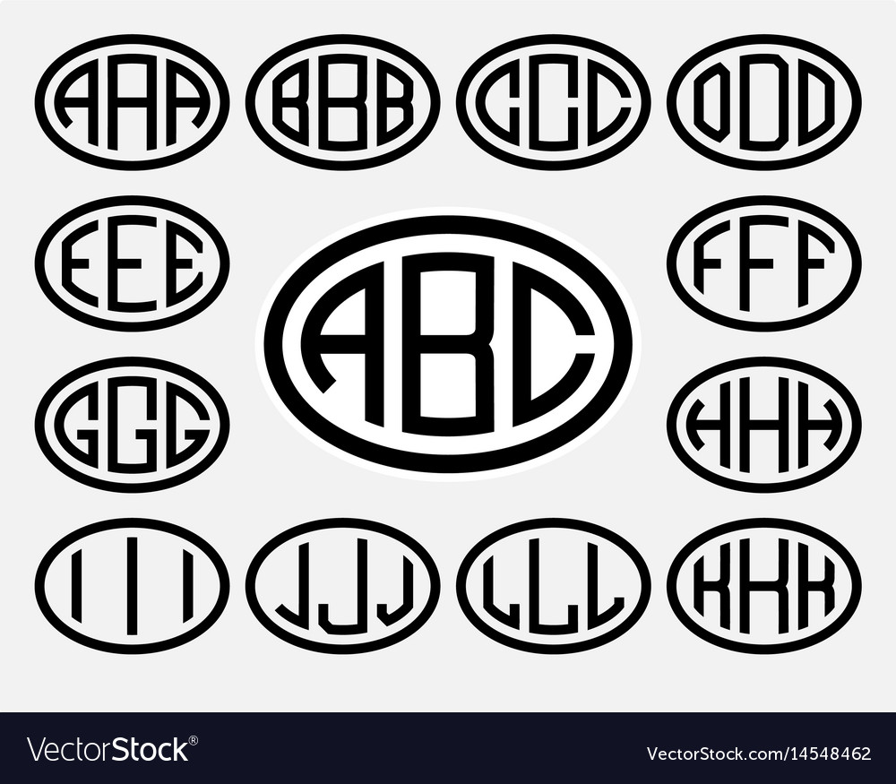 Set 1 of templates from three capital letters vector image
