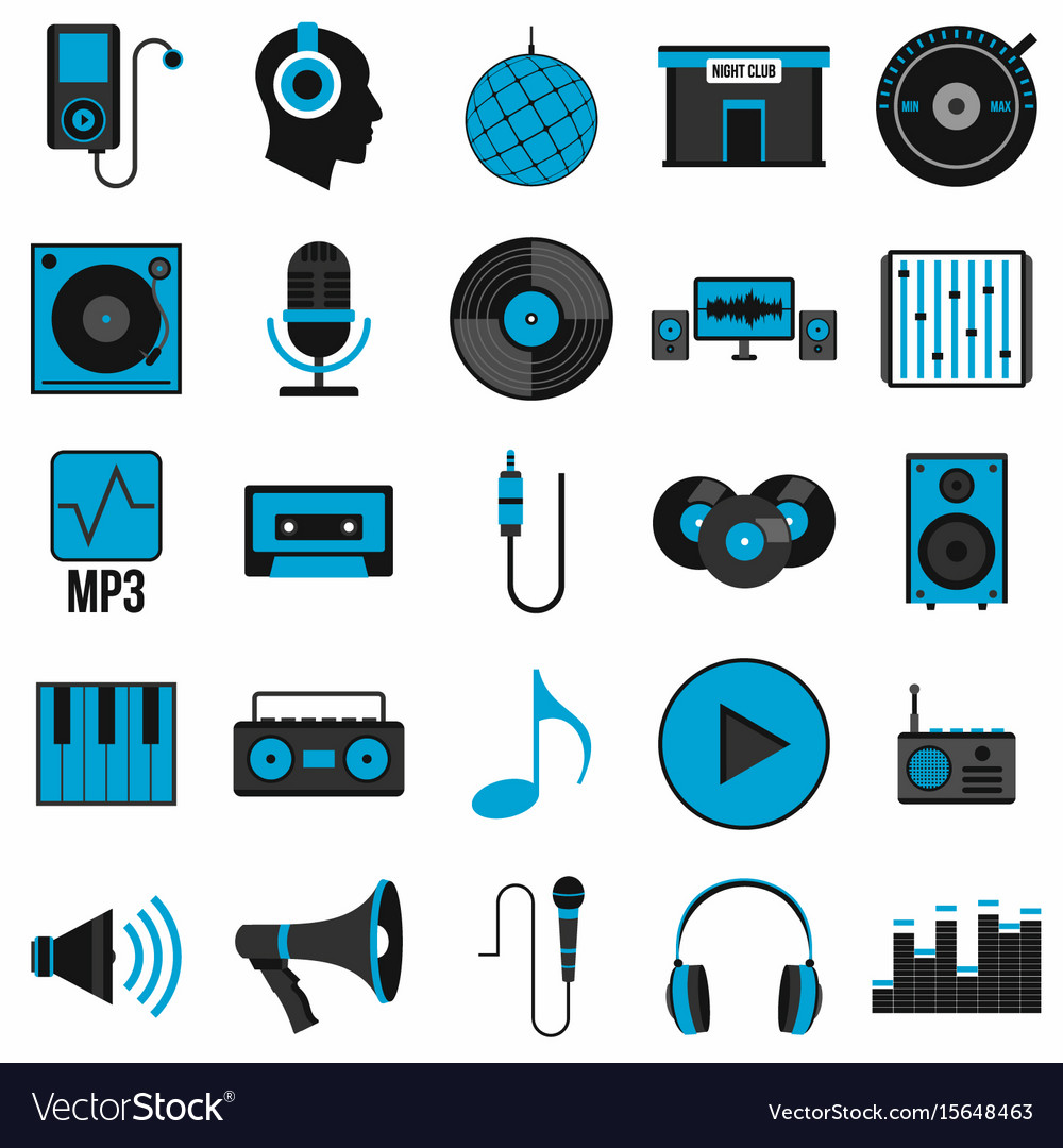 Music set icons in flat style vector image