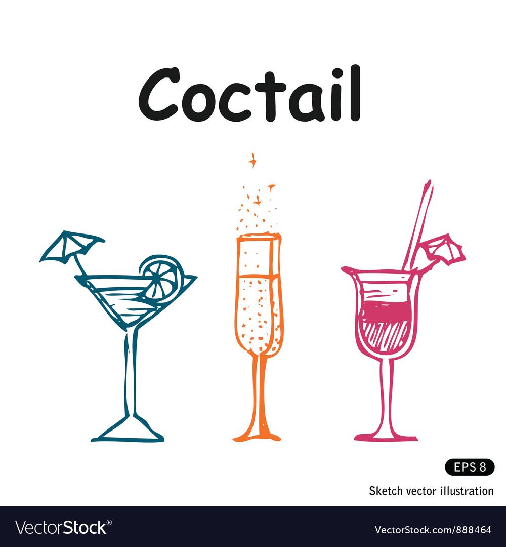 Coctails club set vector image