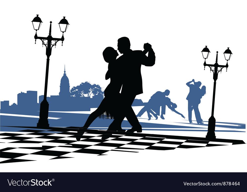 Couple dancing tango vector image