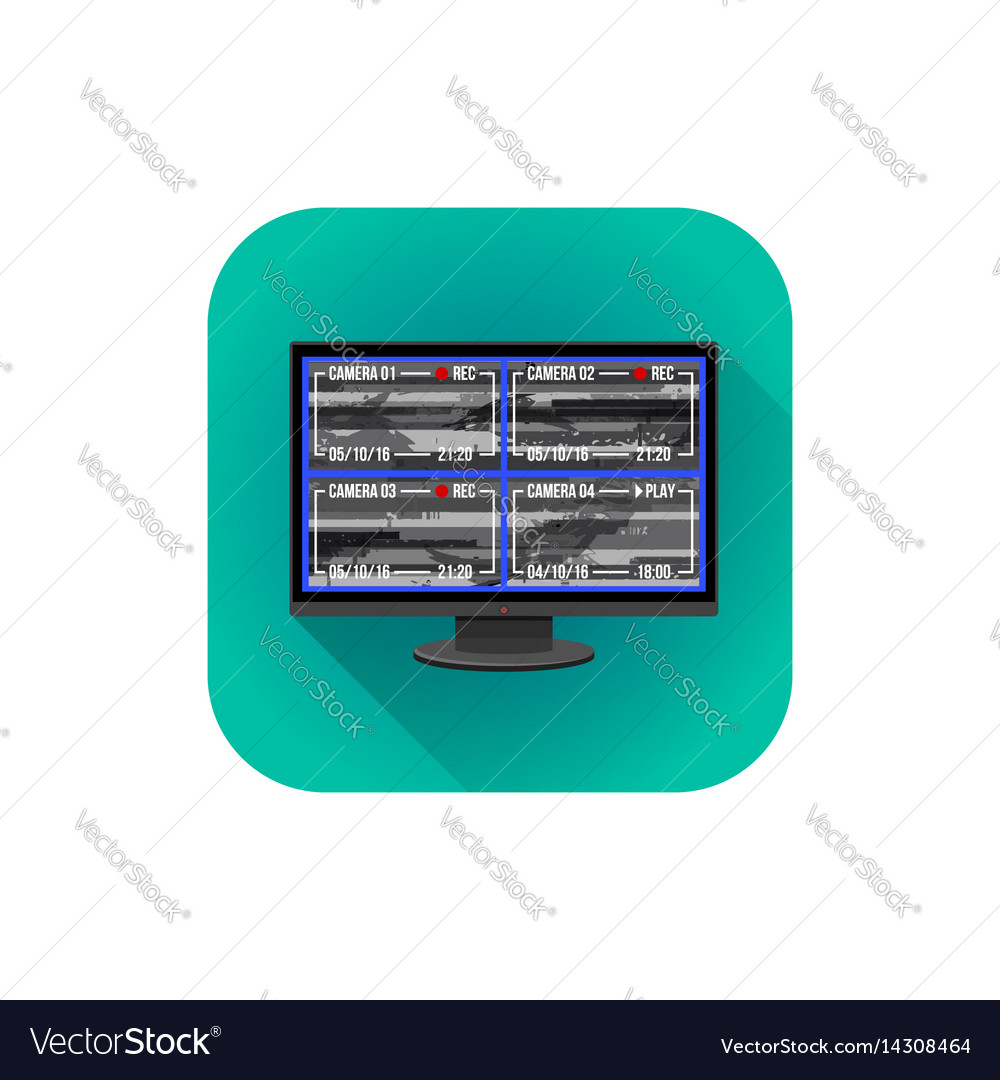 Flat surveillance monitor vector image