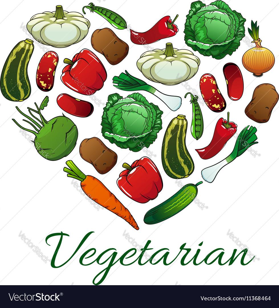 I love vegetarian heart shape emblem vector image