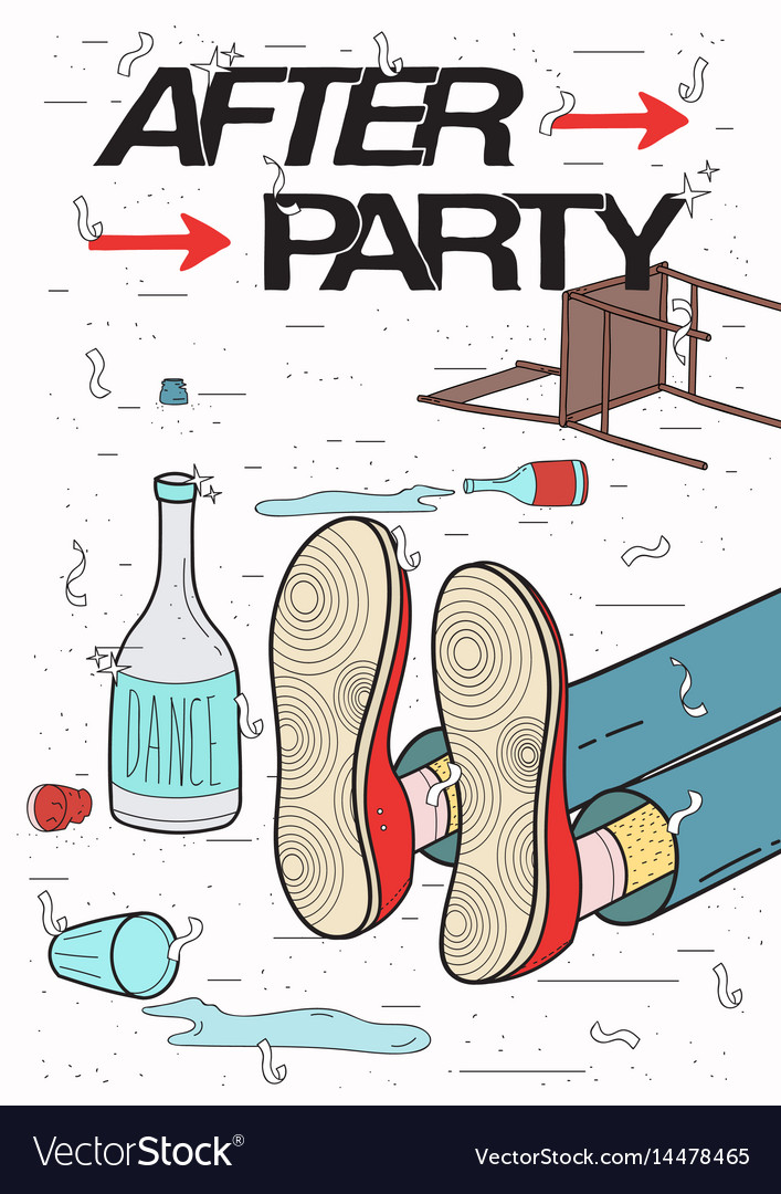 Afterparty placard drunk tired guy asleep vector image