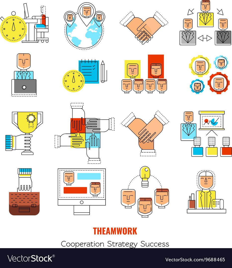 Teamwork Line Icon Set vector image
