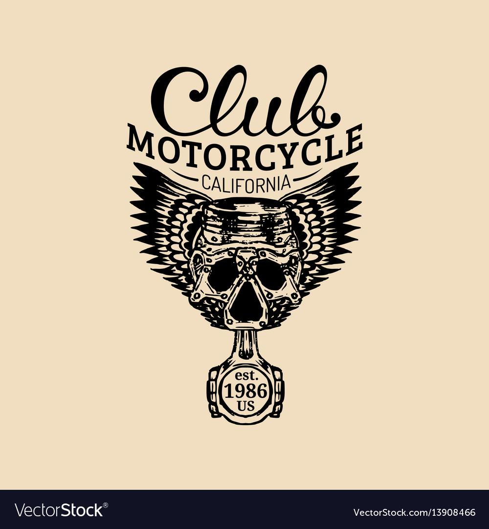 Biker piston-scull logo mc sign vector image