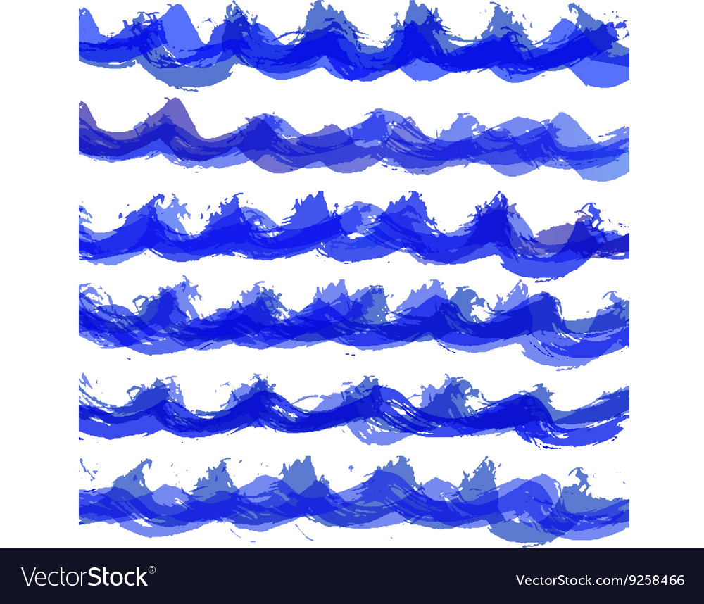 Hand drawn watercolor wave pattern vector image