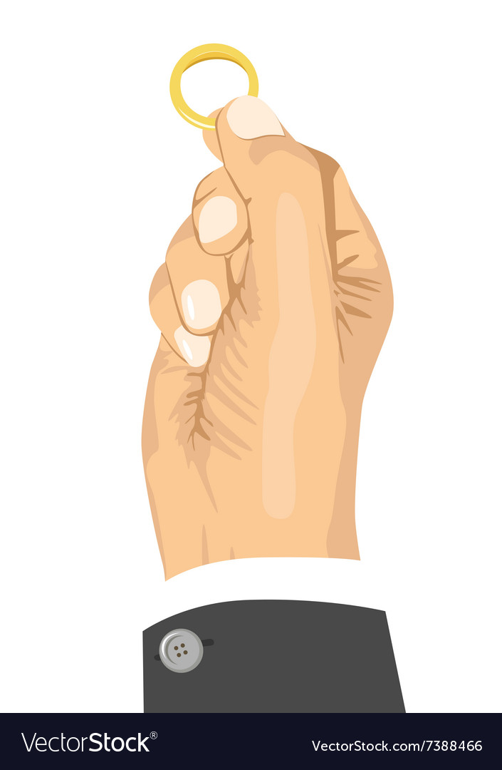 Hand holding a wedding ring vector image