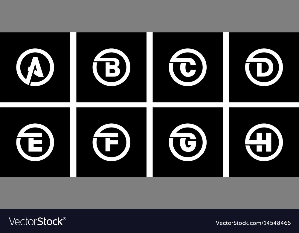 Set 1 Of Templates Capital Letters Inscribed In A Vector Image  Templates For Letters