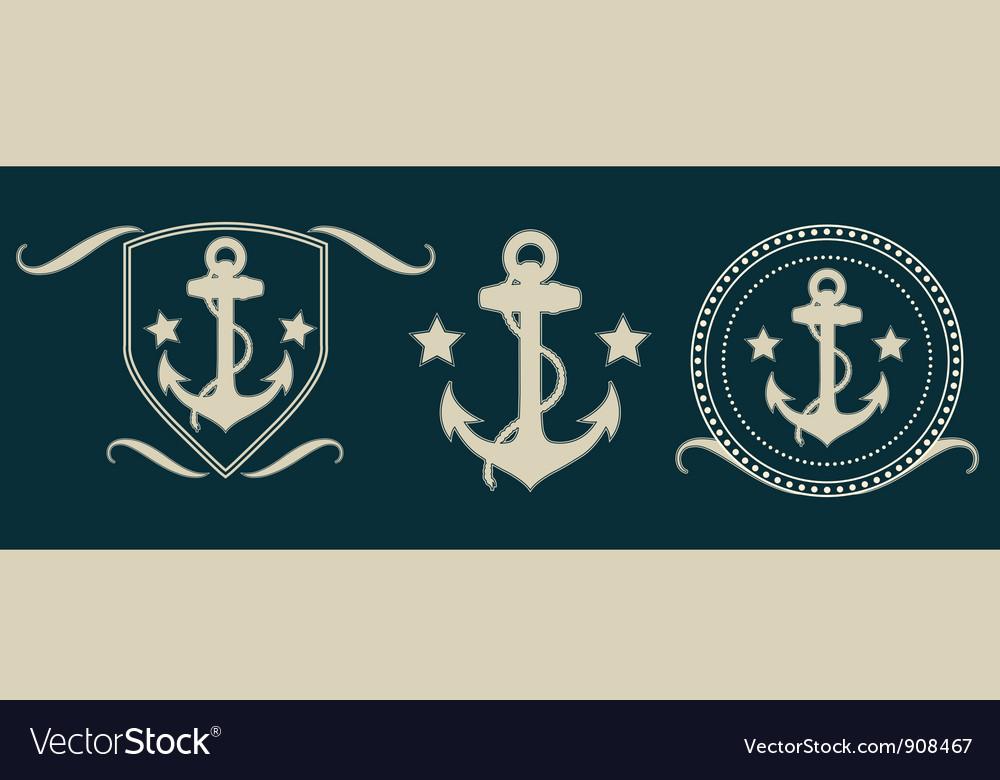 Anchors vintage set vector image