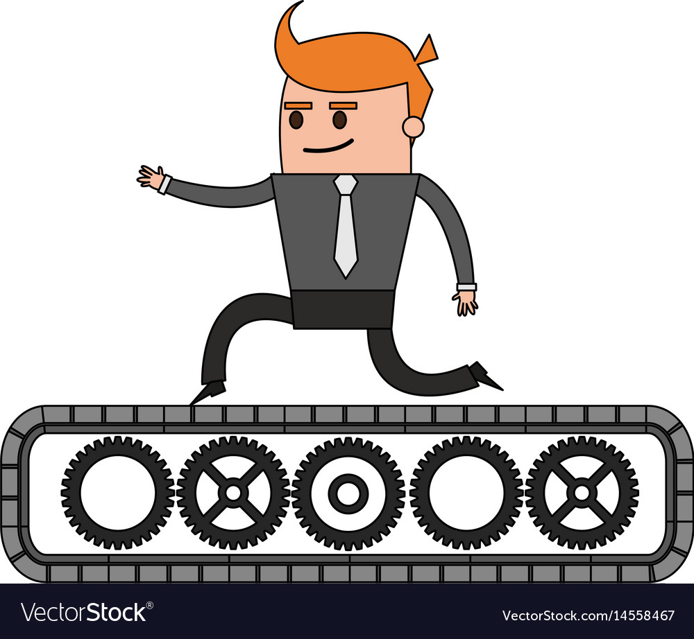Color image cartoon business man riding an belt vector image