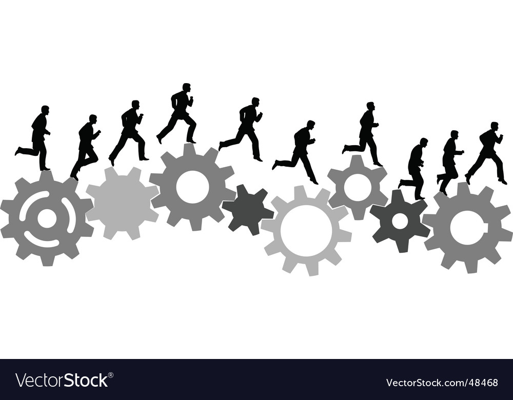 Business man runs on gears vector image