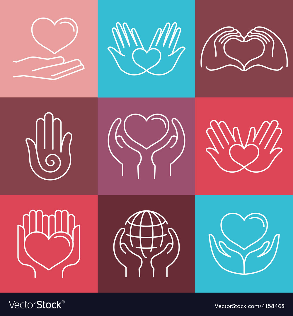 Love and care round emblems in linear style vector image