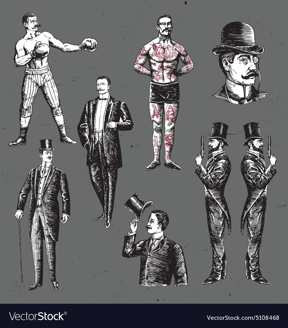 Vintage Hand Drawn Gentlemen Set vector image