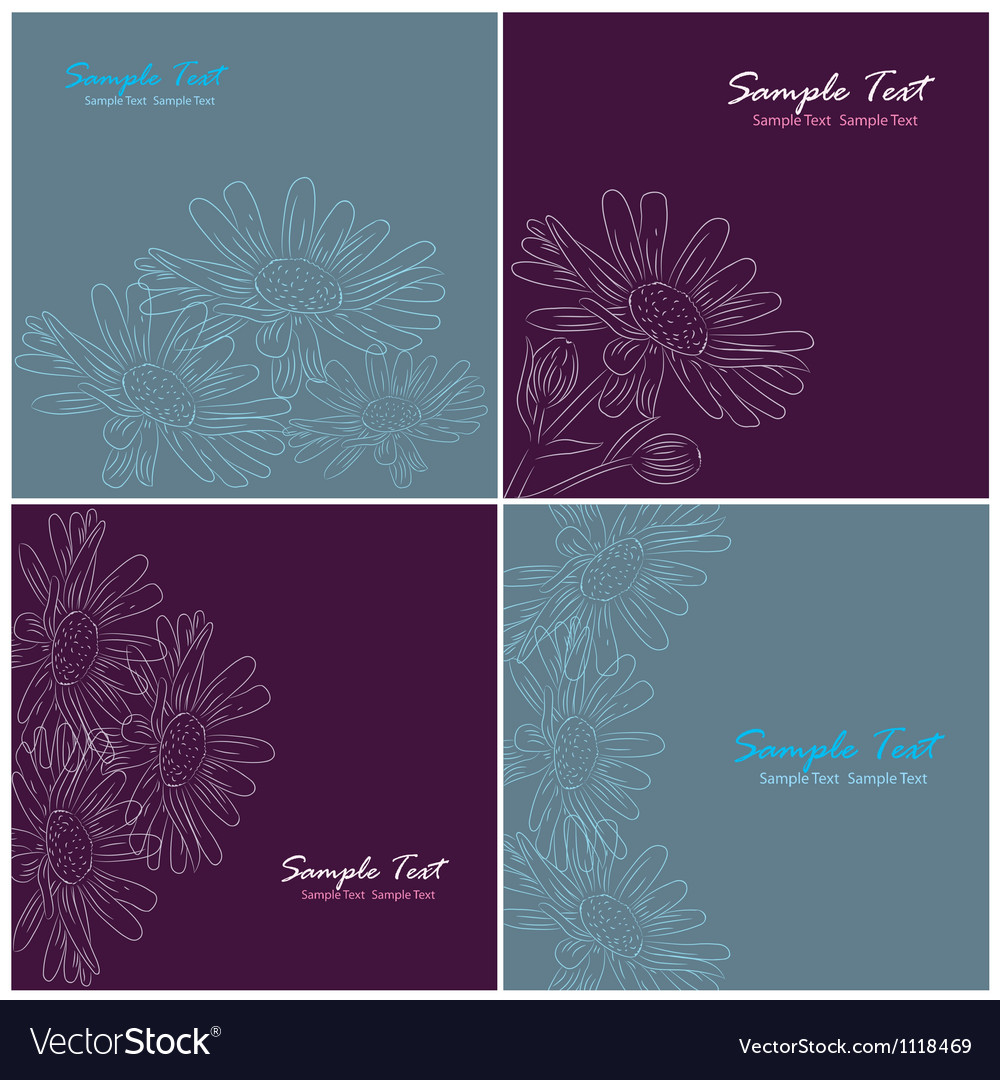 Set of floral card Vector Image