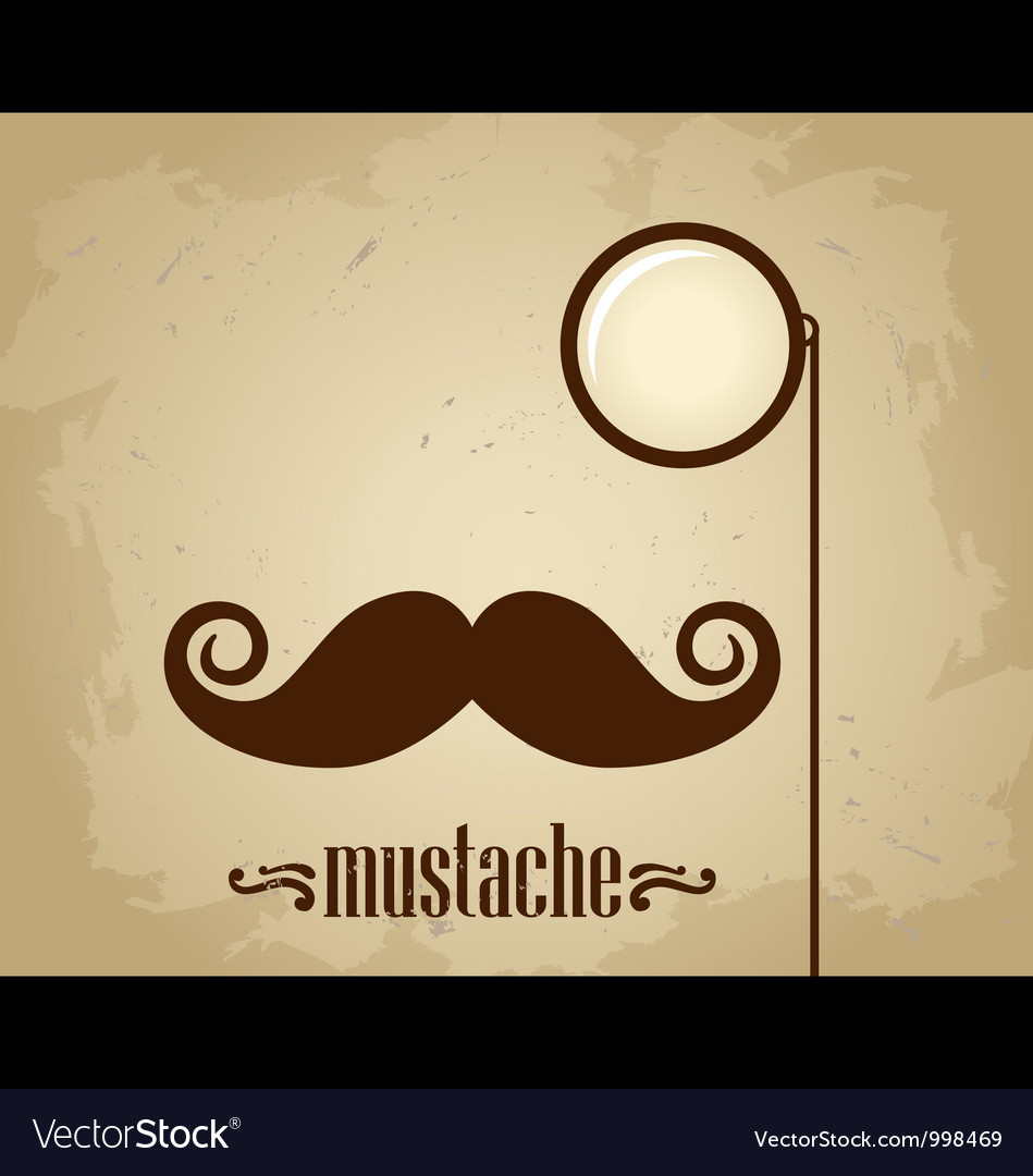 Hipster mustache and monocle vector image