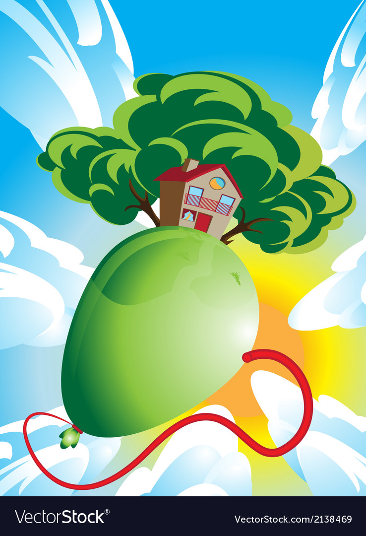 House and green tree floating on a balloon vector image