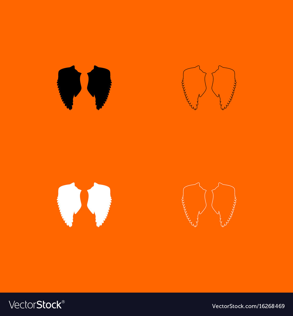 Wings black and white set icons vector image