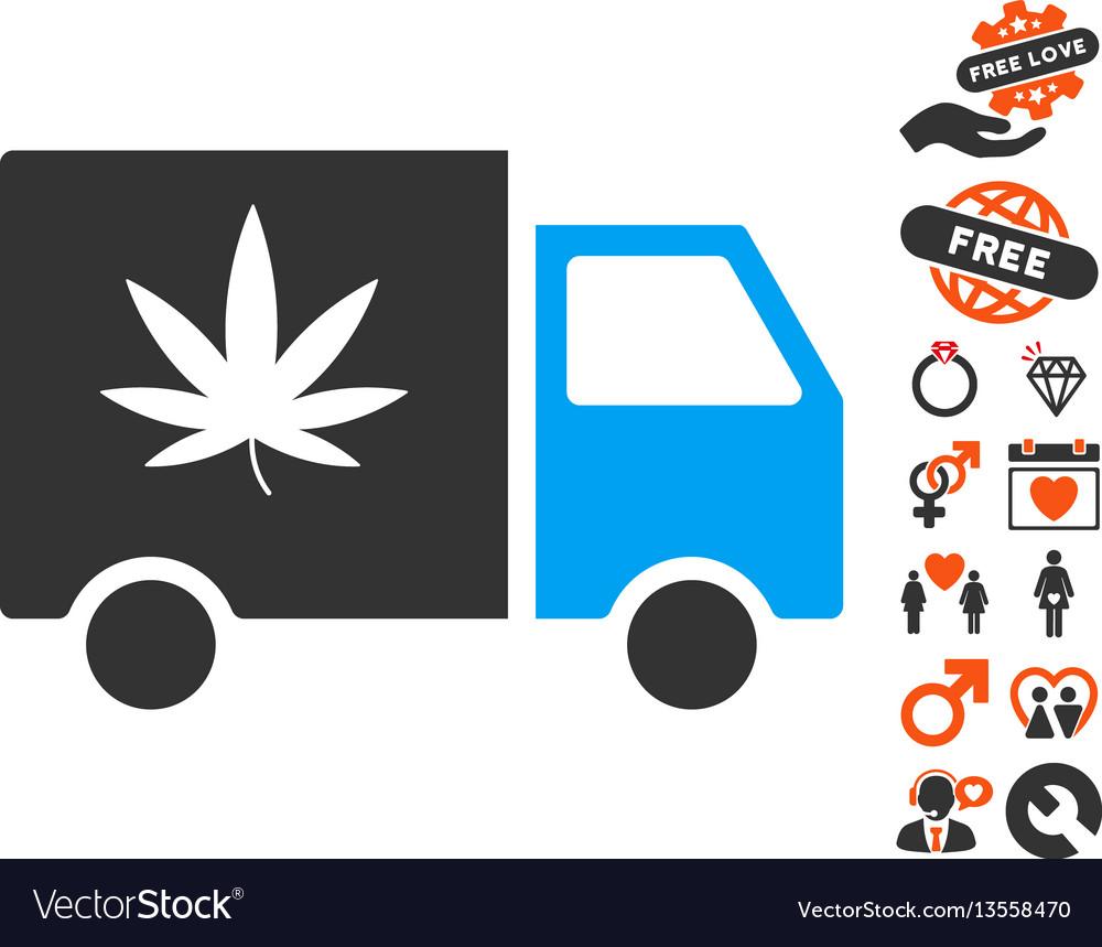 Cannabis delivery van icon with valentine bonus vector image