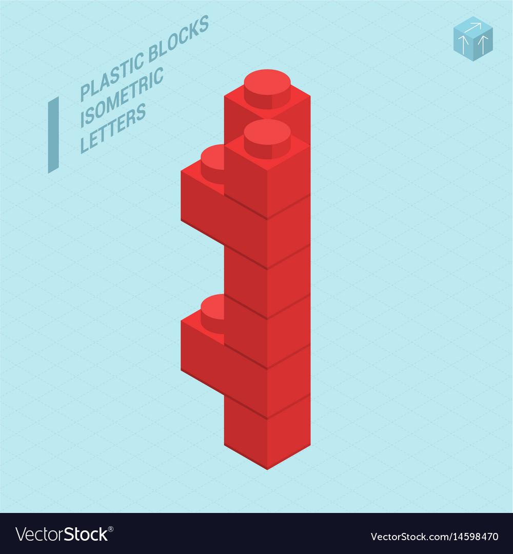 Plastic blocs letter i vector image