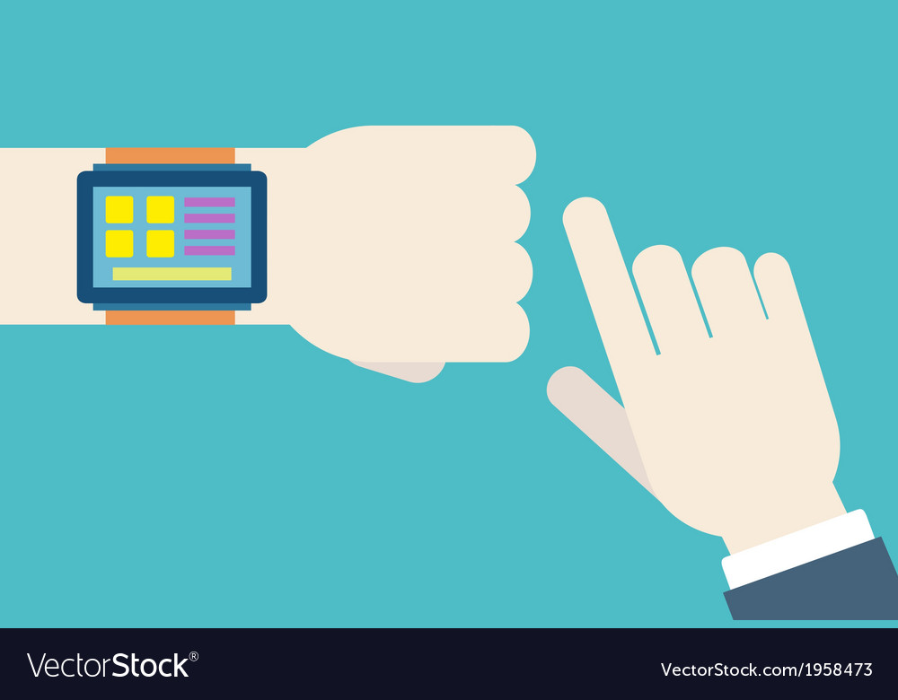 Hands with intellect watch vector image