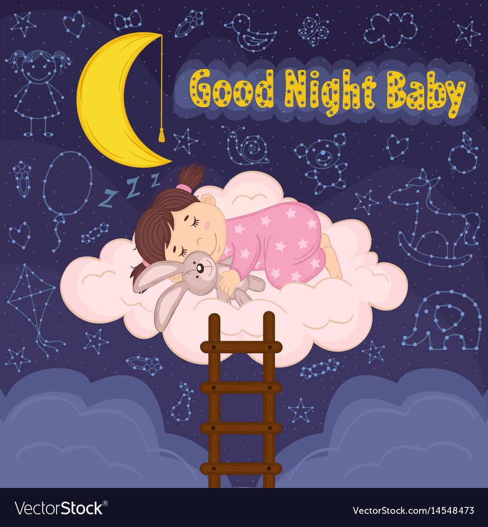 Girl sleeps on cloud vector image