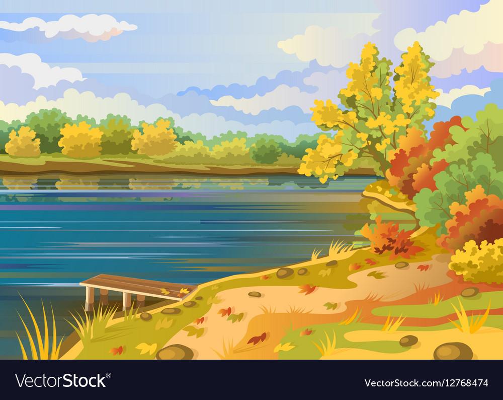 Autumn landscape outdoors river shore vector image