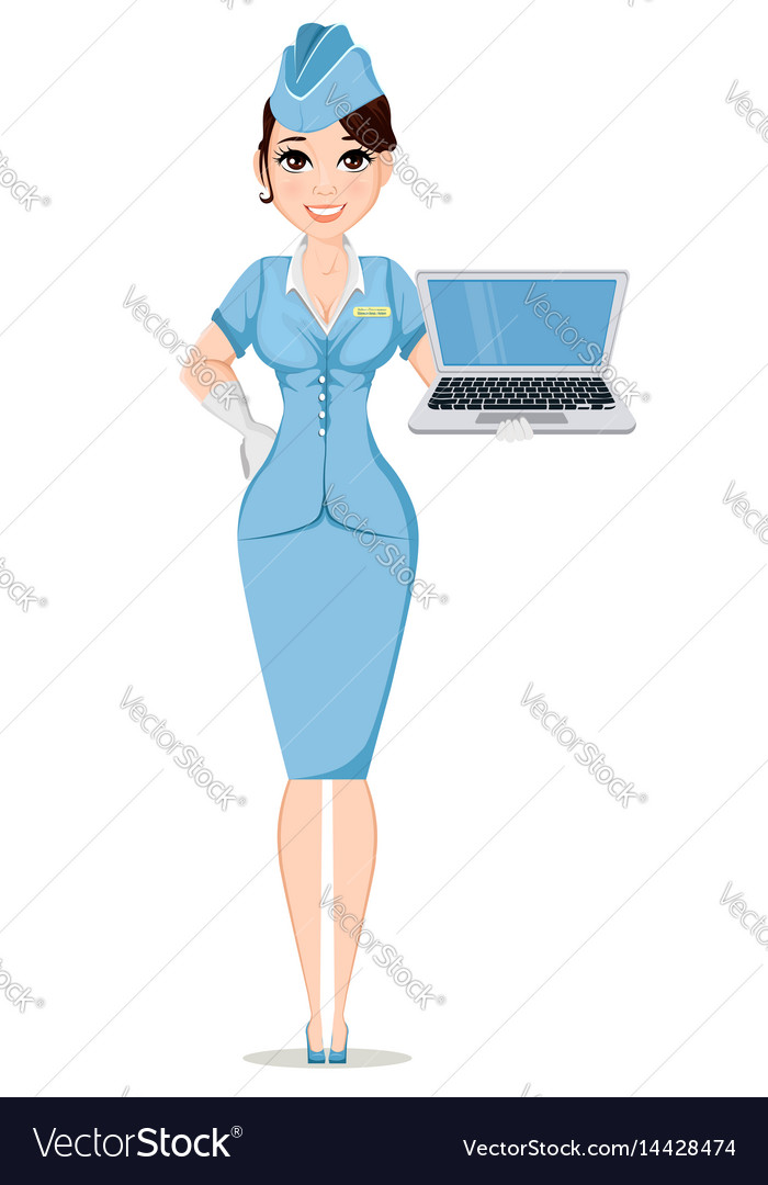 Stewardess in professional uniform cute smiling vector image