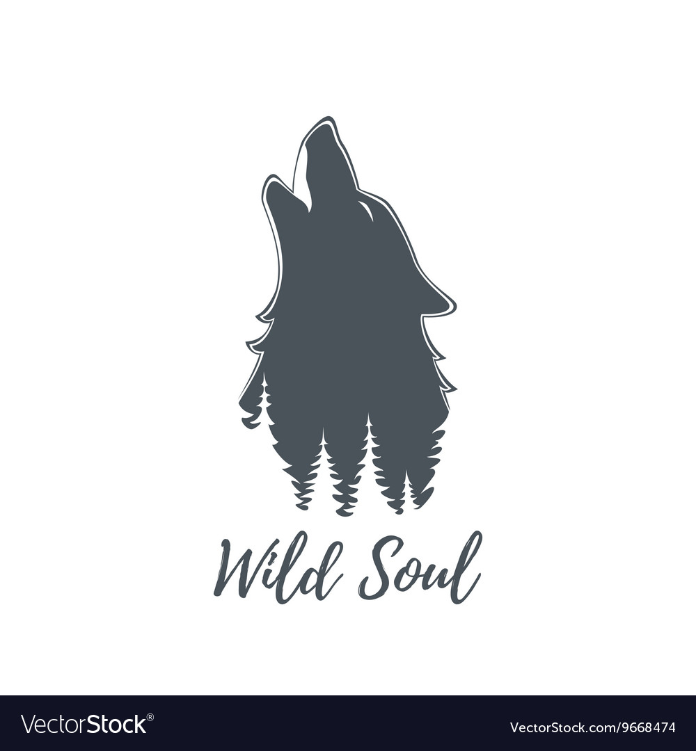 Wolf howling Logo template vector image