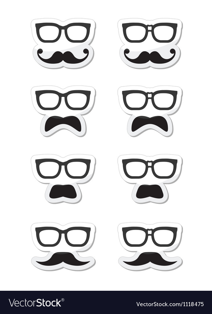 Geek glasses and moustache or mustache labe vector image