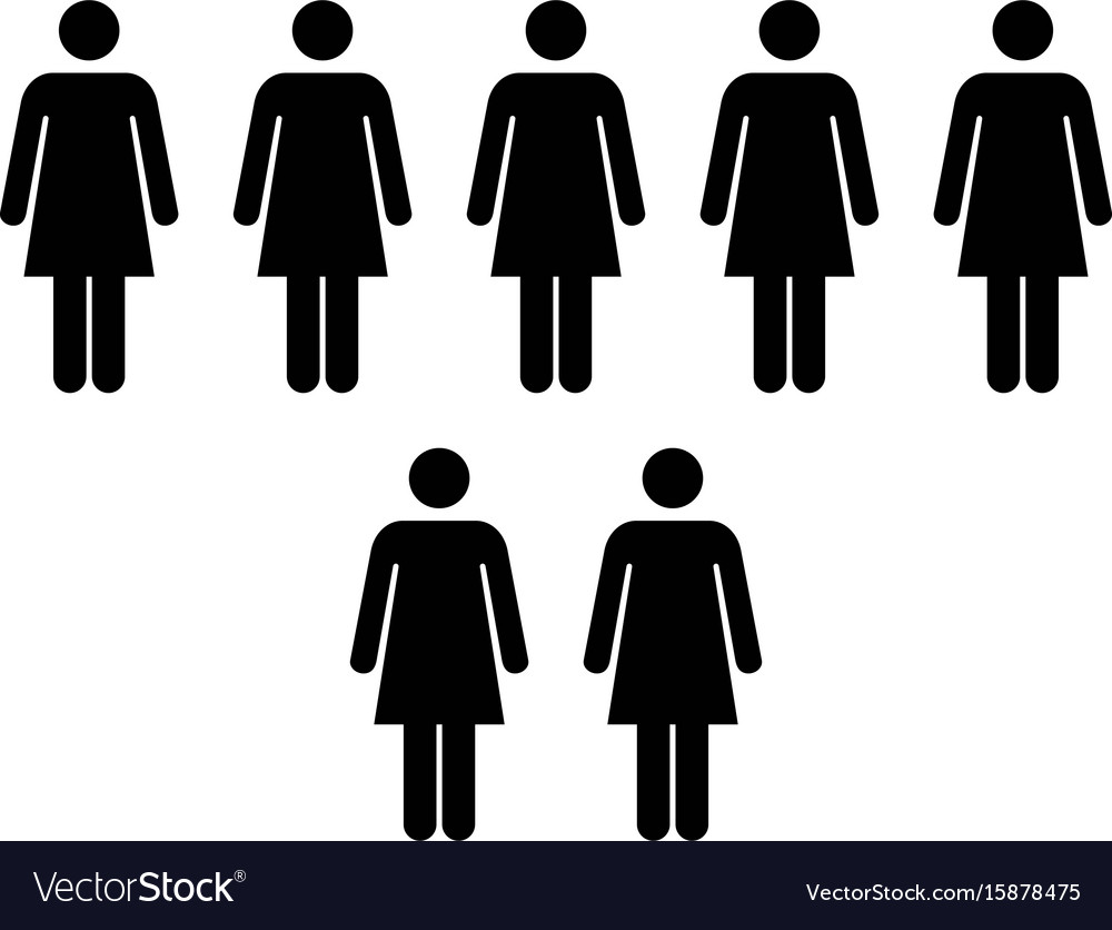 People icon - group of women team pictogram symbol vector image