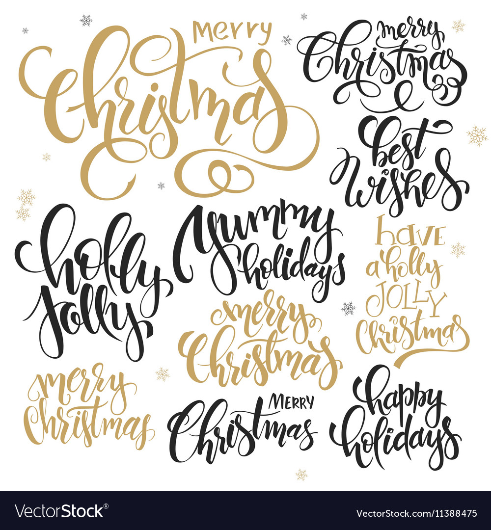 Quotes Christmas Set Of Hand Lettering Christmas Quotes  Vector Image