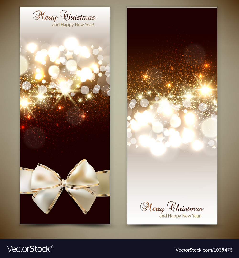 Elegant greeting cards with bows and copy space vector image