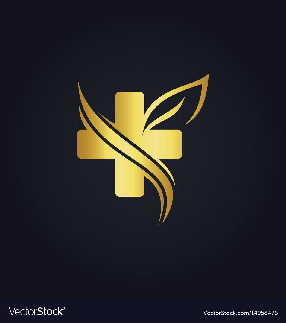 Cross organic gold logo vector image