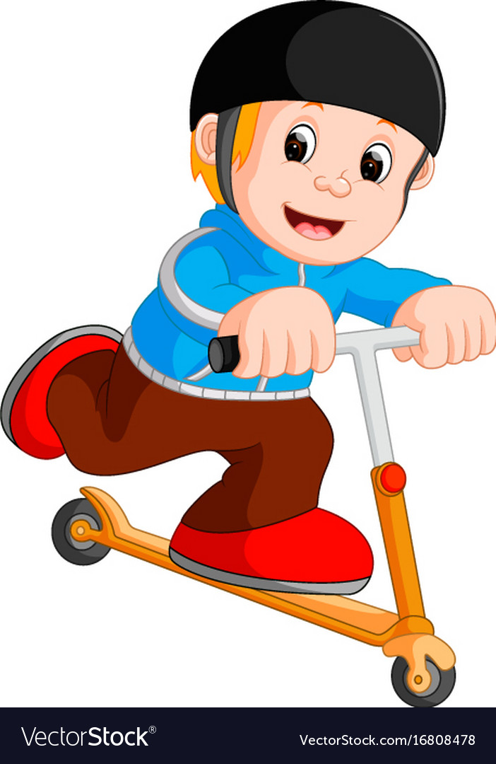 A boy playing push bicycle vector image