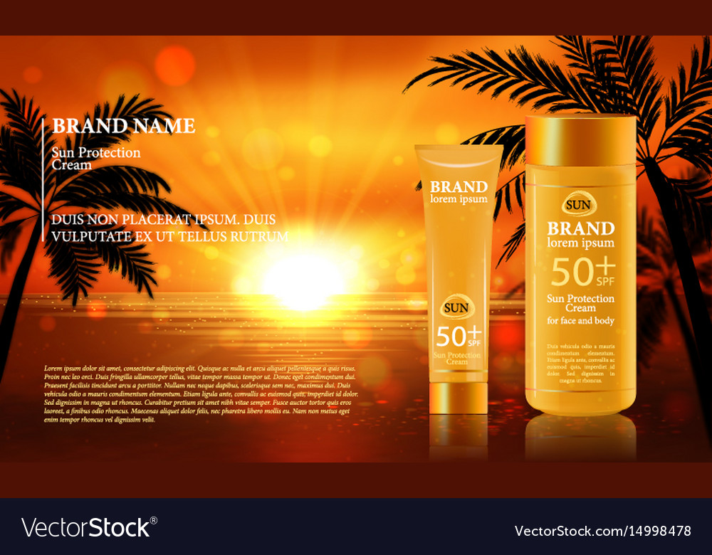 Sun protection cream ads with vector image