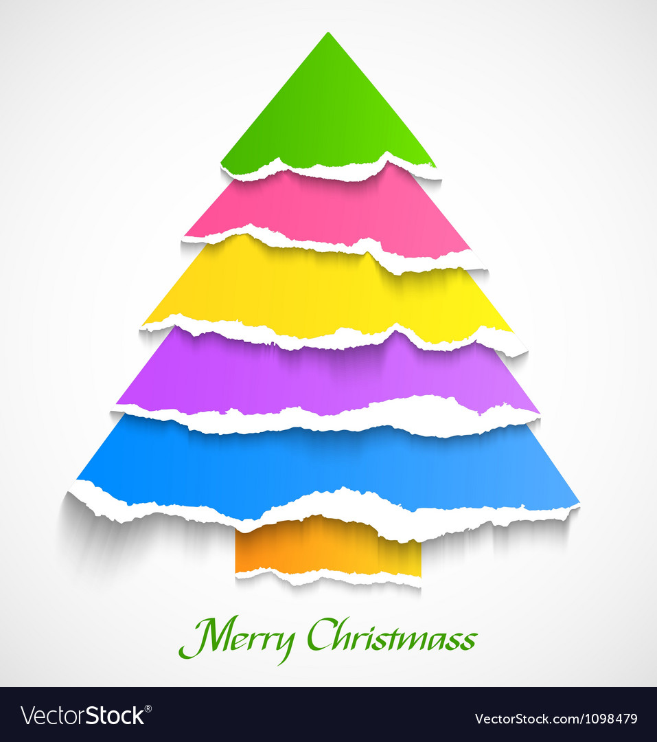 Torn paper colorful christmas tree vector image