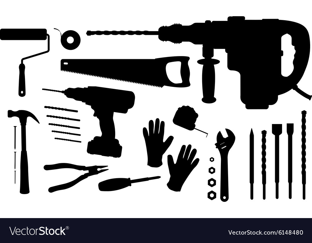 Construction tools silhouettes set vector image