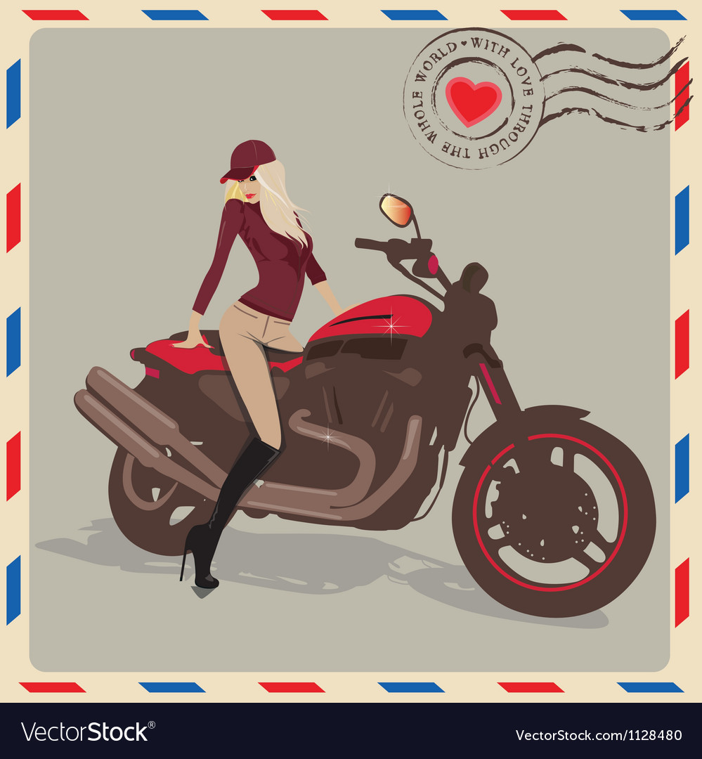Fashion girl with motorbike vector image